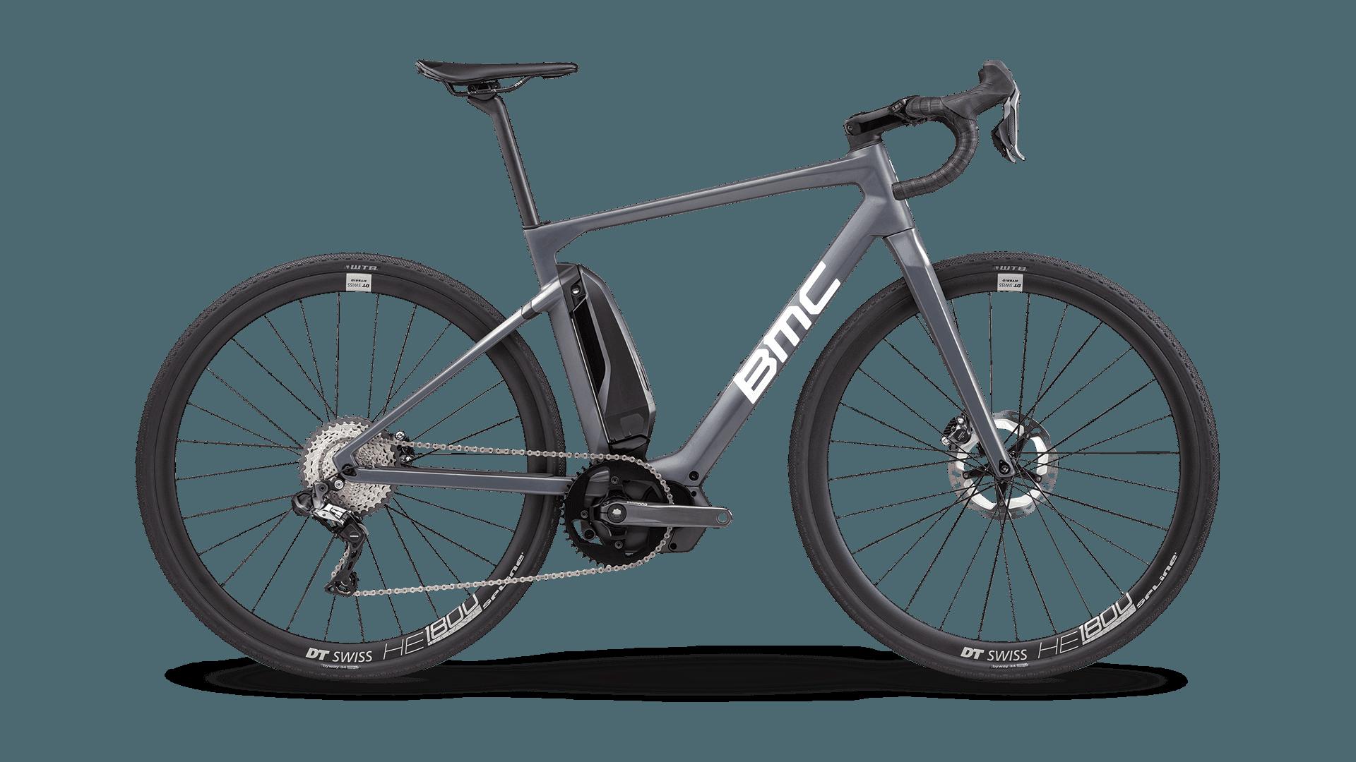 A Grey BMC electric assisted road bike